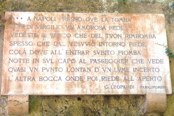 frase di Leopardi sulla tomba di Virgilio